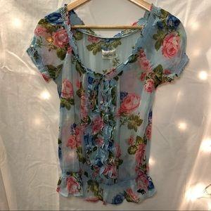 Sheer elasticized floral top